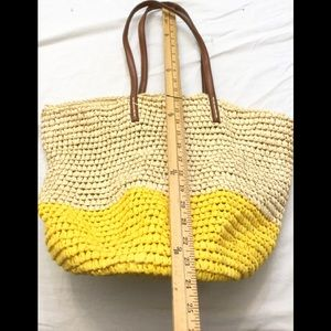 Old Navy Straw Woven Yellow Nude Tote